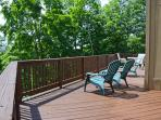 Spacious deck with room for 10+, two charcoal grills and mountain views.