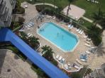 View from our balcony down to our heated pool
