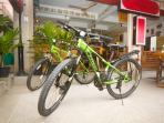Two mountain bikes for rent at discounted rates. Please inquire for prices.