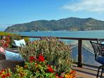 Deck off the kitchen with amazing panoramic views of GG Bridge, Angel Island, city and the east bay