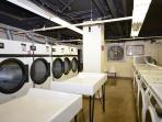 Laundry facilities in the basement