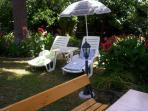 Sunbeds in garden
