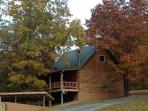 Autumn View of Family Cabin & Back Deck