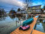 Summer fun on at Wise Owl Landing on Cayuga lake with Kayaks and Canoe