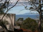 Huon Pine bath looking to Maria Island