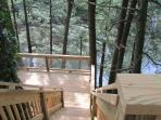 double decks overlooking creek