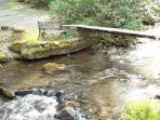walk over bridge to pond and waterfall-in front yard