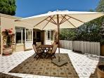 Private courtyard with French chateau tiles