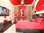 Red Room has queen memory foam bed, LDC TV, fireplace, digital lock, remote AC/Heat and full bath.