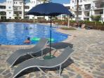 Loungers and parasol provided for you to take to the pool