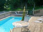 Lovely pool area in the heart of the chateau's park/garden areas.
