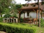 Garden area includes seating and facilities for BBQ and Kotlich cooking.