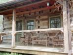 front sitting porch with bent twig furniture