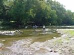 Sugar Creek area for fly fishing small mouth bass, see eagles fishing.