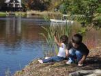 kids at shore of lake
