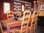 Antique farm table with custom made chairs for 6