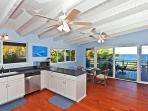 Full size kitchen with everything you need to make a gourmet dinner for six. Oceanfront dining.