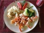 Garlic shrimp with rice and mixed veggies
