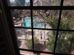 View of pool from guest room window