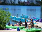 Fun at the kayaks and paddle boat rentals