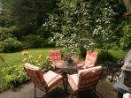 Garden with barbecue and 10 chairs