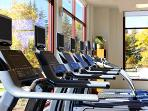 Westin huge fitness center onsite complete with yoga, Pilates, spin classes daily