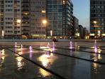color fountains at sunset in Ostend