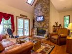Living Room-Stacked Stone Fireplace,32 HDTV, Movies,Books, DVD Player,Queen Sleeper Sofa