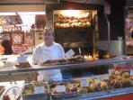 Roast chicken shop Poncelet market