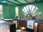 Casa do Theatro -  the colourful kitchen in different blue tones in a separate house