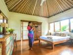 Master bedroom. Custom-made furniture from recycled teak