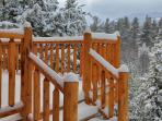 cedar railing deck in winter