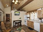 Log, wood, granite; a relaxing atmosphere!