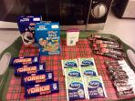 Free welcome pack with milk, cereal, biscuits, tea, coffee and sugar