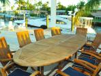 Outdoor Dining with Teak table and chairs