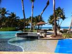 Infinity pool infront of villa, right on the beach
