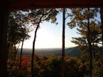 Long range early fall views framed by front porch