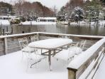 Bay Cottage's Sun Deck, snow day, 2014