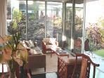 Living Area of the Guest House with view of the Lava Garden