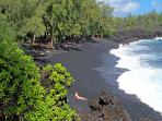 Kehena Black Sand Beach, 10 minute walk from the Guest House