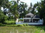 Over view of the villa from the rice fields