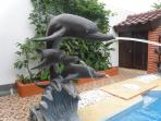 The dolphin family loves playing in the pool..:)