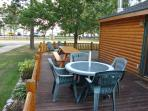 Patio seating & log table