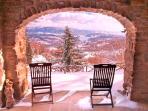 Priello terrace and a snowy view