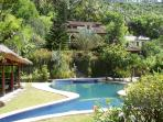 Looking over the pool to the villa