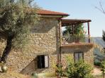 View of Casa Le Querce with an old olive tree and a part of the terrace