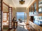 Ocean View from the Kitchen, with hand-carved teak wetbar