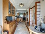 Hand-carved Teak Wet Bar with stone floor and shoji screens