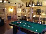 Pool table in loft area
