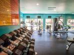 Gym in Apartment Complex with Workout Equipment Available